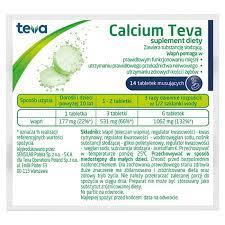 CALCIUM TEVA, wapno, alergia, 14 TABLETEK MUSUJĄCYCH